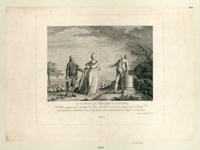 Le  Rappel de Monsieur Necker le roi, appuyé sur les ouvrages de M. Necker le reçoit des mains de la France, representée sous l'emblême d'une belle femme, aux acclamations des peuples le 25 aoust 1788... : [estampe]