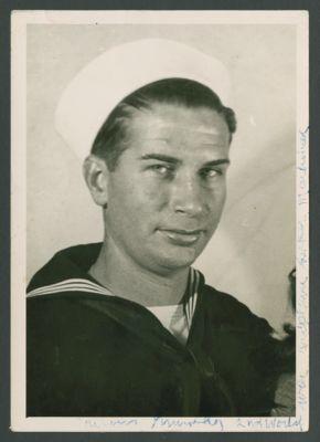 Turk Murphy in Navy uniform, notes on photograph by Turk Murphy