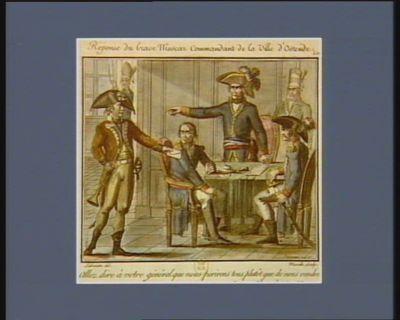 Réponse du brave Muscar commandant <em>la</em> ville d'Ostende allez dire à votre général que nous perironstous plutôt que de nous rendre. le 20 floréal, an VI : [estampe]