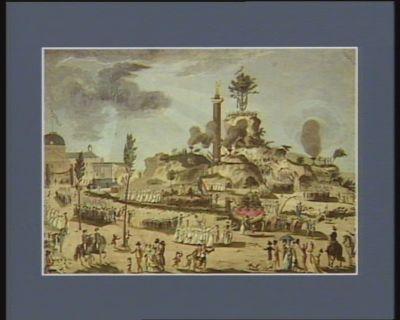 Vue du Champ de Mars le jour du 20 prairial l'an 2.e de la République ou la Convention et les autorités constitués ont assisté à la fête nationale [estampe]