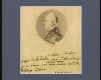 Jacque de La Lande bachelier en theologie curé d'Illiers-l'Evêque, né le 6 mars 1733 a la Forêt Auvray près Falaise député du bailliage d'Evreux : [dessin]