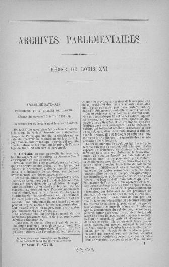 Tome 28 : Du 6 au 28 juillet 1791 - page 1