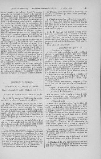 Tome 28 : Du 6 au 28 juillet 1791 - page 251