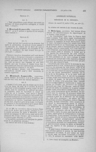 Tome 28 : Du 6 au 28 juillet 1791 - page 435