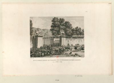 Mr de Lambesc entrant aux Tuileries, avec un détachement de Royal-Allemand le 12 juillet 1789 : [estampe]