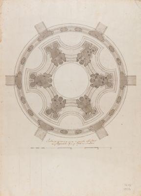 Chiesa di S. Ivo. Pianta della cupola e del lanternino (dal Borromini)