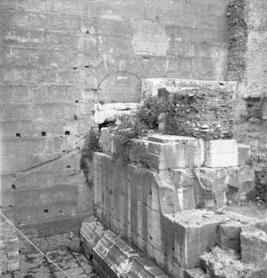 Tabularium, the entrance from the Roman Forum blocked by the podium of the Temple of Vespasian