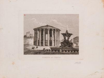 Foro Boario. Tempio di Vesta e fontana adiacente visti da S. Maria in Cosmedin