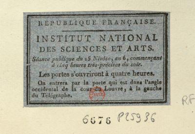 République française, Institut national des sciences et arts séance publique du 15 nivôse, an 6, commençant à cinq heures très précise du soir