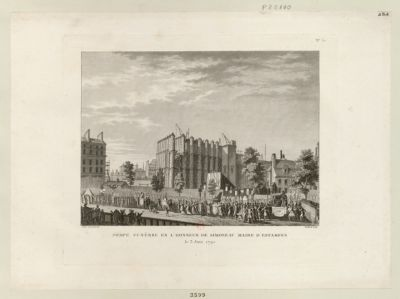 Pompe funèbre en l'honneur de Simoneau maire d'Estampes le 3 Juin 1792 : [estampe]