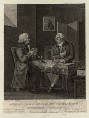 Louis seize lisant son testament à Mr de Lamoignon de Malesherbes, son déffenseur [estampe]