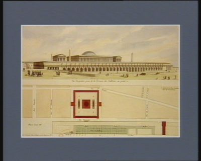 Projet d'un monument pour l'Assemblée nationale vue perspective prise de la terrasse des Tuileries, au point A plan général : [estampe]