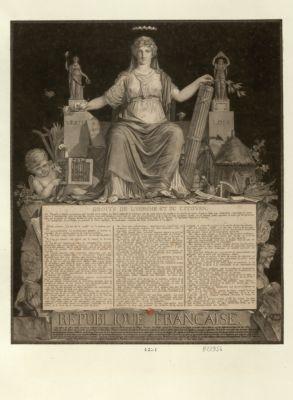 République française au milieu des débris mutilés des odieux monumens de la tirannie, renversés par le courage du peuple français... : [estampe]