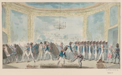 [Désarmement par les Gardes nationaux, dans un des salons des Tuileries, des chevaliers du poignard] [dessin]
