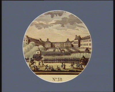 N.o 38 <em>6</em> 8.bre. La Garde na.le parisienne à Versailles : le Roi au balcon... : [estampe]