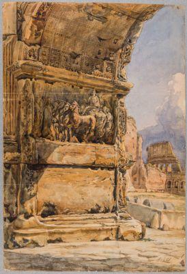 Arco di Tito, particolare dell'interno del fornice con trionfo dell' Imperatore