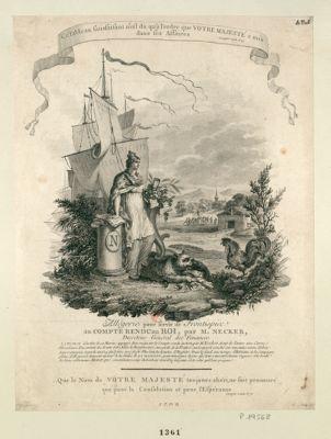 Allégorie pour servir de frontispice au compte rendu au Roi, par M. Necker : [estampe]