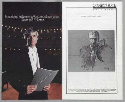 Four pages from Stagebill, program notes on Turk at Carnegie Hall