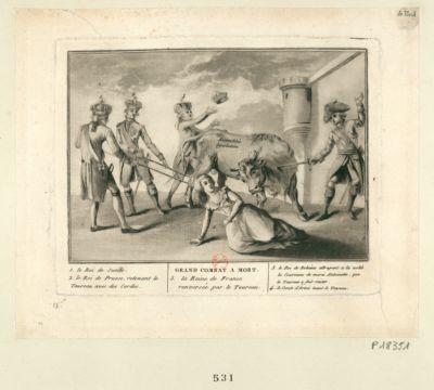Grand combat à mort 1. le <em>Roi</em> <em>de</em> <em>Suéde</em> 2. le <em>Roi</em> <em>de</em> Prusse, retenant le taureau avec des cordes 3. le <em>Roi</em> <em>de</em> Bohéme attrapent a la volée la couronne <em>de</em> Marie Antoinette, que le taureau a fait sauter 4. le comte d'Artois tuant le taureau 5. la Reine <em>de</em> France renversée par le taureau : [estampe]