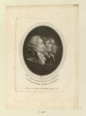 Les  Trois martyrs de la liberté Le Pelletier, Marat, Chalier : [estampe]