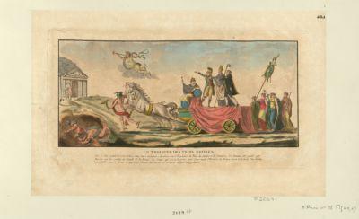 Le  Triomphe des trois ordres sur le char on voit les trois ordres dans leurs costumes : derrière sont l'Espérance, la Paix, la Justice et le Commerce. Les chevaux sont guidés par Mercure qui les conduit au Temple de la Justice. Le Temps qui est à la porte, tient d'une main l'histoire de France où on voit écrit, siècle de Louis XVI. Sur le devant on apperçoit l'Envie, les furies et d'autres figures allégoriques : [estampe]