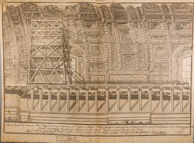 Chiesa di S. Pietro in Vaticano. Volta della navata centrale, ponte in legno per restauri