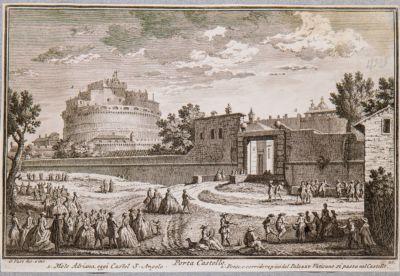 Porta Castello con sfondo di Castel S. Angelo