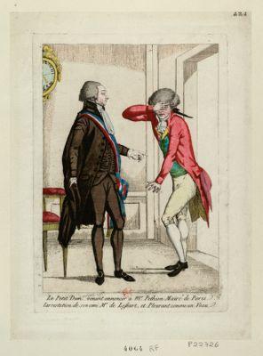 Le  Petit Dum... venant annoncer a Mr Pethion maire de Paris, l'arrestation de son ami Mr de Lessart, et pleurant comme un veau [estampe]
