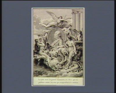 Fred. Guil. II Roi de Prusse la Paix tient la guerre enchainée ; le Roi par sa présence anime les arts qui s'empressent à le célébrer : [estampe]