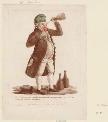 Aristocrates soyez tranquille sur la santé <em>du</em> traitre Louis XVI, il boit comme un templier en attendant [estampe]