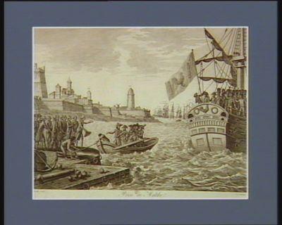 Prise de Malthe <em>le</em> 24 prairial, an 6, 12 juin 1798. <em>le</em> général Bonaparte commandant la flotte française qui, par son ordre, avoit investi la capitale de cette isle et l'isle entière de tous <em>les</em> côtés, ... : [estampe]
