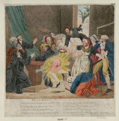 Fait miraculeux arrivé à Paris l'an du salut 1791, le six avril dans le dortoir, de cellule en cellule, à la chapelle, à la cave, en tout lieu, les ennemis des servantes de Dieu, flagellent tout sans honte et sans scrupule... : [estampe]