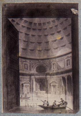 Pantheon, interno allagato con barche