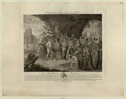 Réception de Louis Capet aux enfers par grand nombres de brigands ci-devant couronnées... : [estampe]