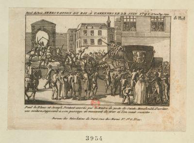 Arrestation du roi à Varennes le 22 juin 1791 Paul le Blanc et Joseph Pontant avertis par le maitre de poste de Sainte Menehould, d'arrêter une voiture s'opposent à son passage et menacent de tirer si l'on veut resister : [estampe]