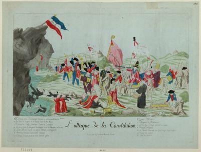 L' Attaque de la Constitution 1 Le cardinal piece en campagne lâchant les aristocrates contre la Constitution 2 La furie de l'orgueil et de l'avarice sourit de ses succés... : [estampe]