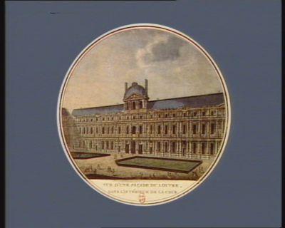 Vue d'une façade du <em>Louvre</em>, dans l'intérieur de la cour cette façade du fond de la cour avec trois autres forment l'interieur du <em>Louvre</em> : [estampe]