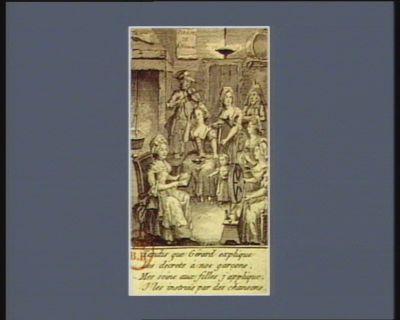 Tandis que Gérard explique les décrets à nos garçons, mes soins aux filles j'applique, j'les instruis par des chansons [estampe]