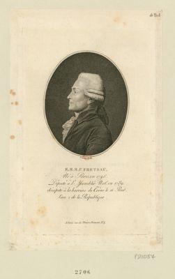 <em>E</em>. M. M. P. Freteau né à Paris en 1746 député à l'Assemblée nat. le en 1789, décapité à la barrière du Trône le 20 prair.al l'an 2 de la République : [estampe]