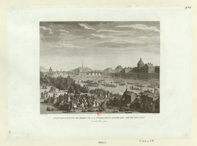 Fête exécutée en mémoire de la Fédération générale : joute sur l'eau le 18 juillet 1790 : [estampe]