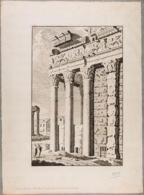 Tempio di Antonino e Faustina, angolo del pronao preso da levante