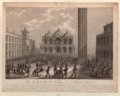 Prise de la Ville de Venise <em>le</em> 3 [i.e. 24] Floréal An 5 tout un côté de la place St-Marc à Venise alloit ête incendié... : [estampe]