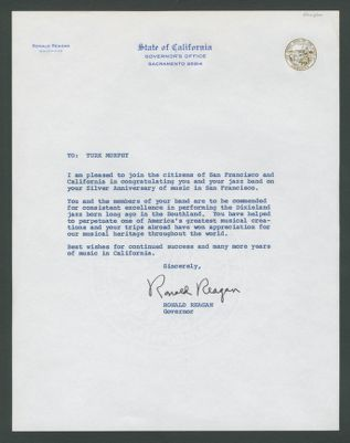 Letter from Gov. Ronald Reagan congratulating Turk Murphy for 25 years of band leading