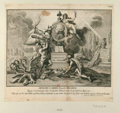 Honoré Gabriel Riquetti Mirabeau deputé de la senechaussée d'Aix <em>à</em> l'Assemblée nationale en 1789 : élu président le 29 janvier 1791 : allés dire au roi votre mâitre [sic] que nous sommes rassembles ici par ordre du peuple. .. : [estampe]