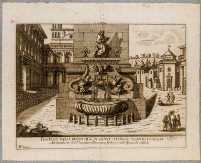 Piazza di S. Giovanni in Laterano, fontana avanti all'obelisco