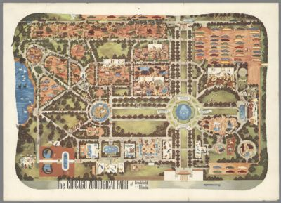 Map of Jackson Park Chicago showing the buildings of the Worlds