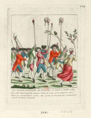 La  Journée memorable de Versailles le lundi 5 octobre 1789 dans cette émeute generale plusieurs gardes du corps ont été massacrés deux dentre eux furent décolés et leurs tetes portées en triomphe par ce même peuple ami de la liberté nationale : [estampe]