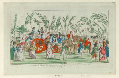 Triomphe de l'armée parisienne réunis au peuple a son retour de Versailles à <em>Paris</em> le <em>6</em> octobre <em>1789</em> [estampe]