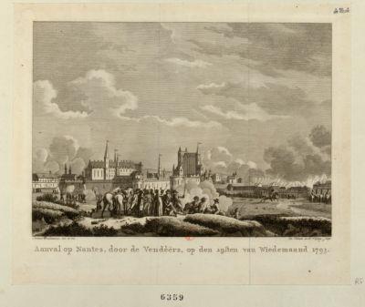 Aanval op Nantes, door de Vendeërs [estampe]