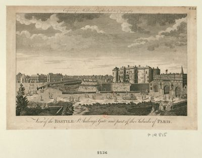 View of the Bastille St Anthony's gate and part of the suburbs of <em>Paris</em> [estampe]